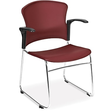 OFM Plastic Seat and Back Multi-Use Chair With Arms, Navy