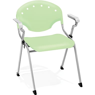 OFM Rico Polypropylene Stack Chair With Arms, Green
