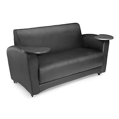 OFM Interplay Polyurethane Double Seat Tablet Sofa, Black