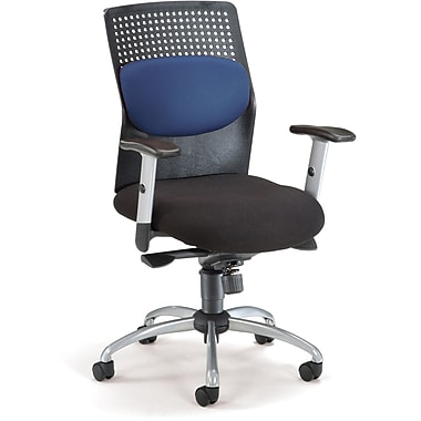 OFM 651-M10 AirFlo Silver Accents Fabric Task Chair with Adjustable Arms, Blue