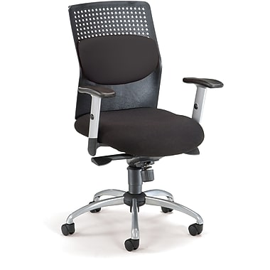 OFM AirFlo Fabric High Back Executive Task Chair With Silver Accents, Black