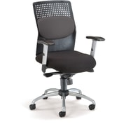 OFM 651-M12 AirFlo Silver Accents Fabric Task Chair with Adjustable Arms, Gray