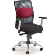 OFM 651-M13 AirFlo Silver Accents Fabric Task Chair with Adjustable Arms, Burgundy
