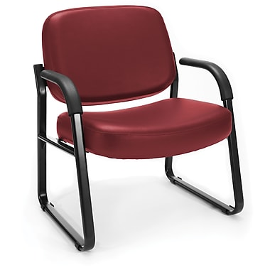 OFM Big and Tall Vinyl Guest/Reception Chair, Wine