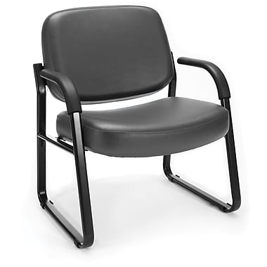 OFM Steel Guest/Reception Chair with Arms, Charcoal (407-VAM-604)