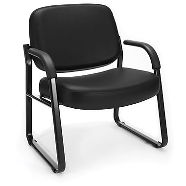 OFM Big and Tall Vinyl Guest/Reception Chair, Black