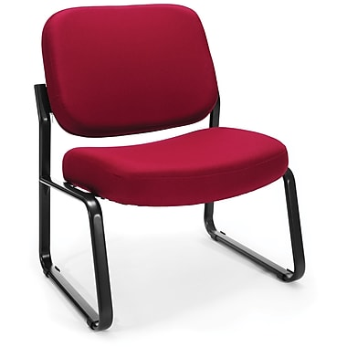 OFM Big and Tall Fabric Armless Guest/Reception Chair, Wine