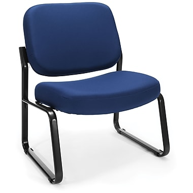 OFM Big and Tall Fabric Armless Guest/Reception Chair, Navy