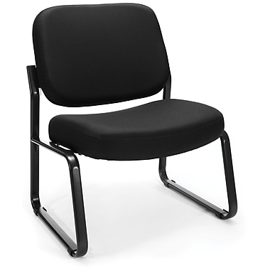 OFM Big and Tall Fabric Armless Guest/Reception Chair, Black