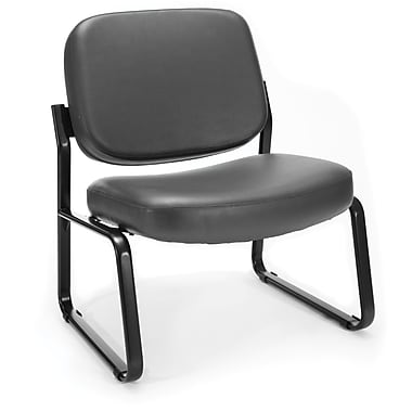 OFM Big and Tall Vinyl Armless Guest/Reception Chair, Charcoal