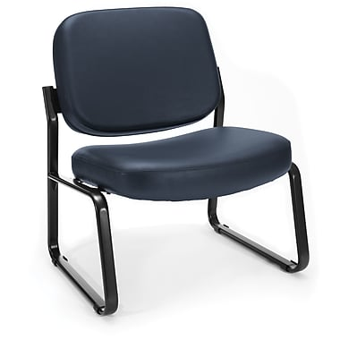 OFM Big and Tall Vinyl Armless Guest/Reception Chair, Navy