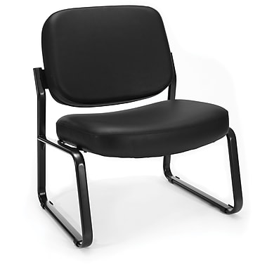 OFM Big and Tall Vinyl Armless Guest/Reception Chair, Black