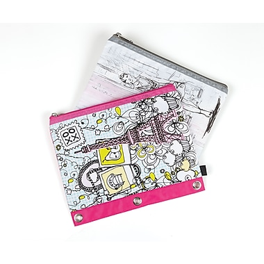 Staples® 3-Ring Pencil Pouch, Assorted Patterns