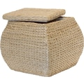 Natural Fibers Square Rush Ottoman, Natural