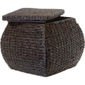 Natural Fibers Square Rush Ottoman, Espresso
