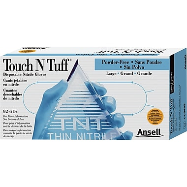 Ansell Touch N Tuff® 92-615 Nitrile Powder Free Disposable Gloves, Large