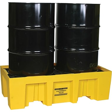 Eagle Mfg 13 3/4in.(H) x 51in.(W) x 26 1/4in.(D) Two Drum Spill Pallet, 66 gal