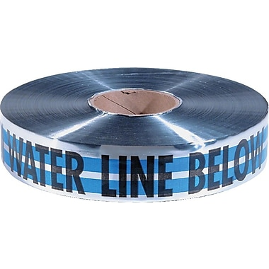 Empire® 31 2in.(W) x 1000'(L) Premium Water Detectable Tape, Blue/Silver/Black