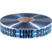 "Empire® 31 2""(W) x 1000'(L) Premium Water Detectable Tape, Blue/Silver/Black"