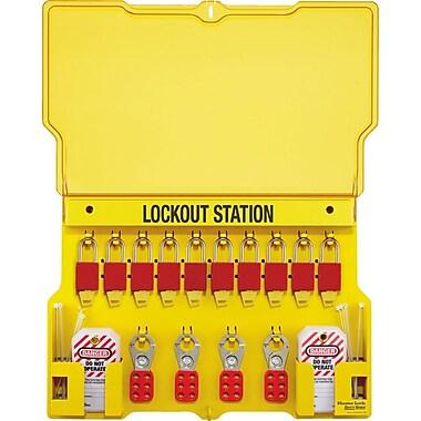 Master Lock® Safety Series™ 1483BP1106 Multilingual Padlock Station, 10 Lock