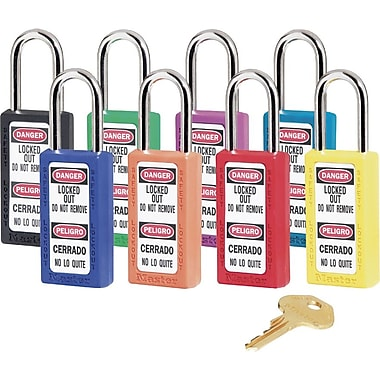 Master Lock® 411 Safety Series™ Lightweight Xenoy Thermoplastic Safety Padlock, 6 Pin, Yellow