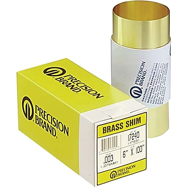 Precision Brand® Plain Brass Shim Stock Roll, 0.05