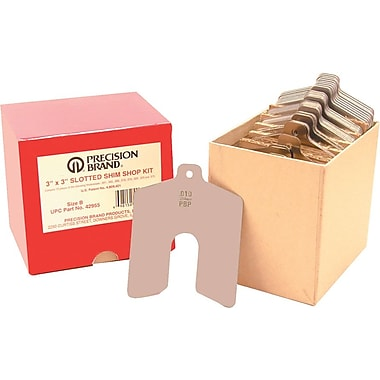 Precision Brand® Plain Stainless Steel Slotted Shim Shop Assortment Kit, 2in. x 2in.