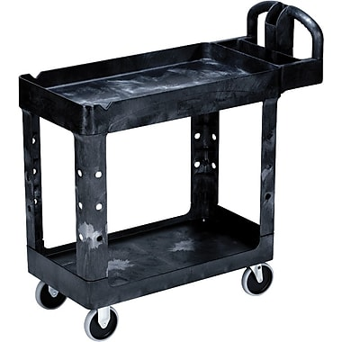 Rubbermaid® Heavy Duty 2-Deep Tray Lipped Shelf Utility Cart, 39in. (L) x 17 7/8in. (W) x 33 1/4in. (H)
