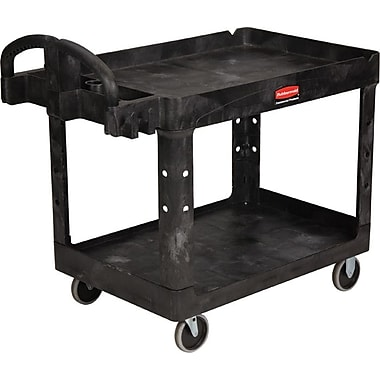 Rubbermaid® Heavy Duty 2-Deep Tray Lipped Shelf Utility Cart, 45 1/4