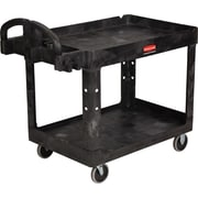 "Rubbermaid® Heavy Duty 2-Deep Tray Lipped Shelf Utility Cart, 45 1/4"" (L) x 25 7/8"" (W) x 33 1/4"" (H)"