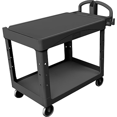 Rubbermaid® Heavy Duty 2-Flat Shelf Utility Cart, 43 7/8in. (L) x 25 7/8in. (W) x 33.3in. (H)