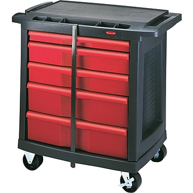 Rubbermaid® Black/Red 5 Drawer Mobile Work Center, 250 lbs.