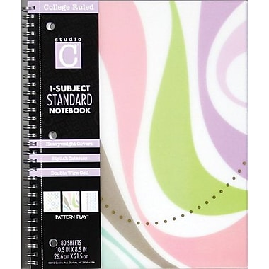 Carolina Pad Pattern Play 1-Subject Notebook, Wave Design, 10-1/2in. x 8-1/2in.