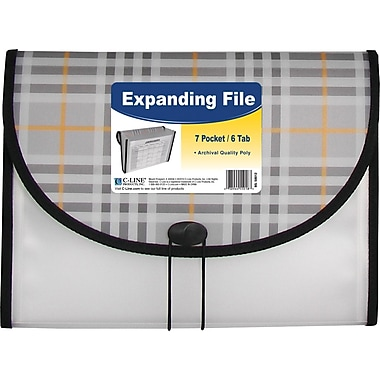 C-Line® 7 Pocket Expanding File, Letter Size, Plaid