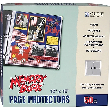 C-Line Memory Book Top-Load Page Protectors, 12in. x 12in., 3-Ring and Postbound
