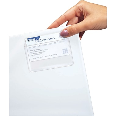 C-Line ® Clear Self-Adhesive Business Card Holder, 3 1/2