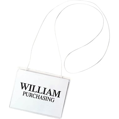 C-Line ® Hanging-Style Name Badge Holder Kit, Top Load, 3in.(W) x 4in.(D), White, Elastic Cord, 50/Box
