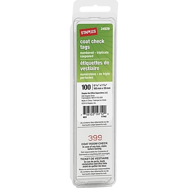 Staples® Coat Check Tags, 100/Pack