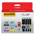 Canon PGI-250 Black & CLI-251 C/M/Y Color Ink Cartridges & Photo Paper (6497B004), Combo 4/Pack