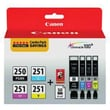 Canon PGI-250/CLI-251 Black & Color Ink Cartridges (6497B004), 4/Pack Combo w/Paper