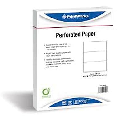 Printworks® Professional 8 1/2in. x 11in. 20 lbs. Perforated at 4 1/2in. Punched Paper, White, 2500/Case
