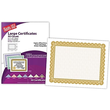 Blanks/USA® 8 1/2in. x 11in. 60 lbs. Offset Large Certificate With Gold Border, White, 50/Pack