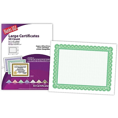 Blanks/USA® 8 1/2in. x 11in. 60 lbs. Offset Large Certificate With Green Border, White, 50/Pack