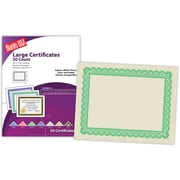 "Blanks/USA® 8 1/2"" x 11"" 60 lbs. Astroparche Large Certificate With Green Border, Natural, 50/Pack"