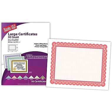 Blanks/USA® 8 1/2in. x 11in. 60 lbs. Offset Large Certificate With Red Border, White, 50/Pack