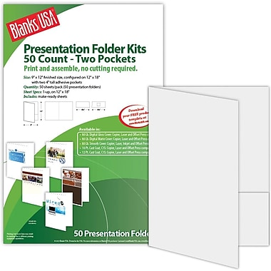Blanks/USA® 9in. x 12in. 80 lbs. Smooth Cover Printable Folder With Two Pocket, Gray, 50/Pack
