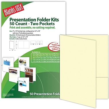 Blanks/USA® 9in. x 12in. 80 lbs. Smooth Cover Printable Folder With Two Pocket, Natural/Ivory, 50/Pack