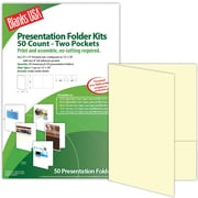 "Blanks/USA® 9"" x 12"" 80 lbs. Smooth Cover Printable Folder With Two Pocket, Natural/Ivory, 50/Pack"
