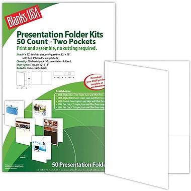 Blanks/USA® 9in. x 12in. 80 lbs. Smooth Cover Printable Folder With Two Pocket, White, 50/Pack