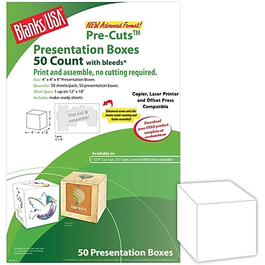Blanks/USA® 4in. x 4in. x 4in. Digital Printable Box, White, 50/Pack